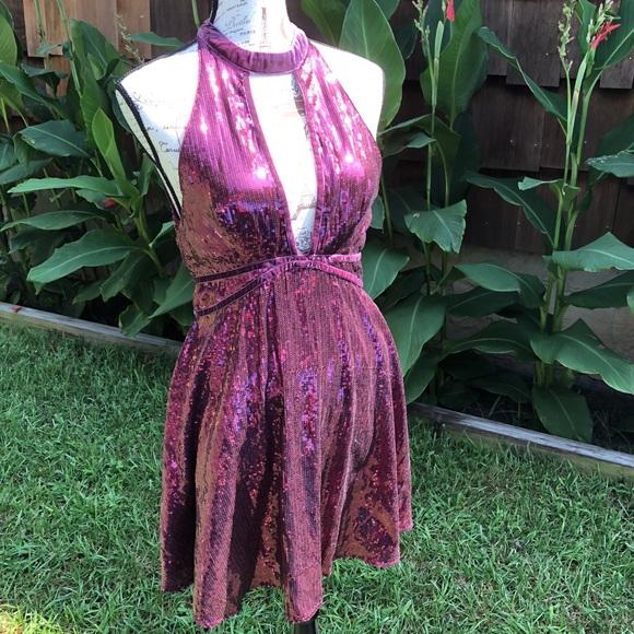 Free People Dresses & Skirts - Free People Film Noir Sequin Mini Dress Plum sz 8.